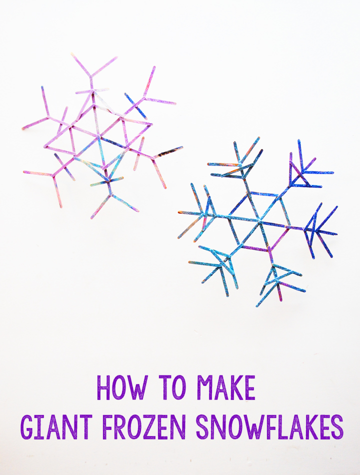 DIY giant frozen Christmas snowflakes