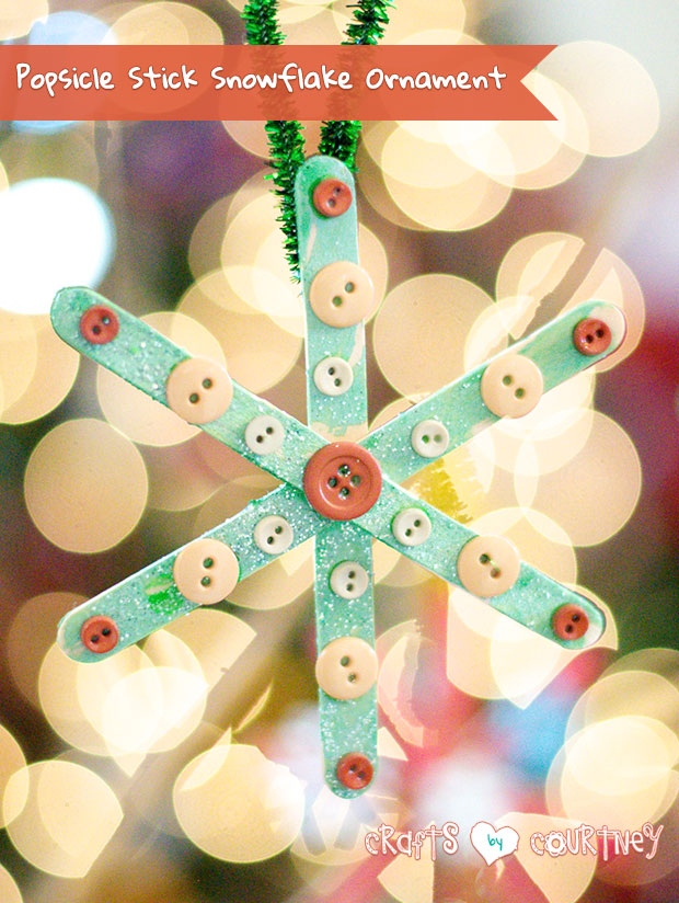 DIY popsicle stick snowflake with buttons (via www.craftsbycourtney.com)