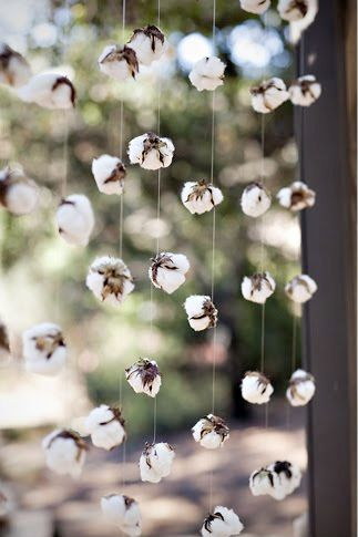 DIY cotton garland with fishing line (via lollyjane.com)