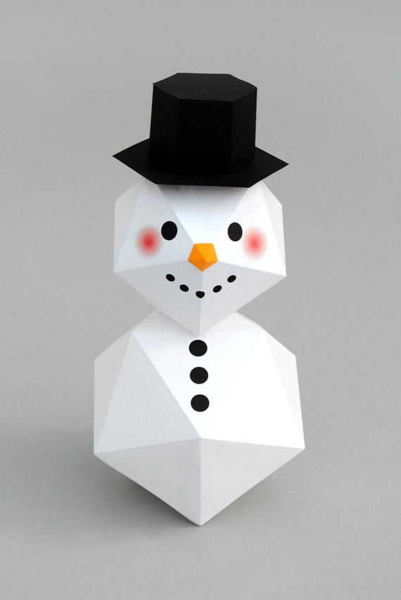 DIY geometric faceted snowman (via www.minieco.co.uk)