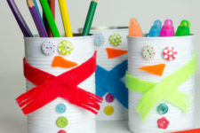 DIY tin can snowmen pencil holders