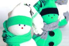 DIY stuffed sock snowman