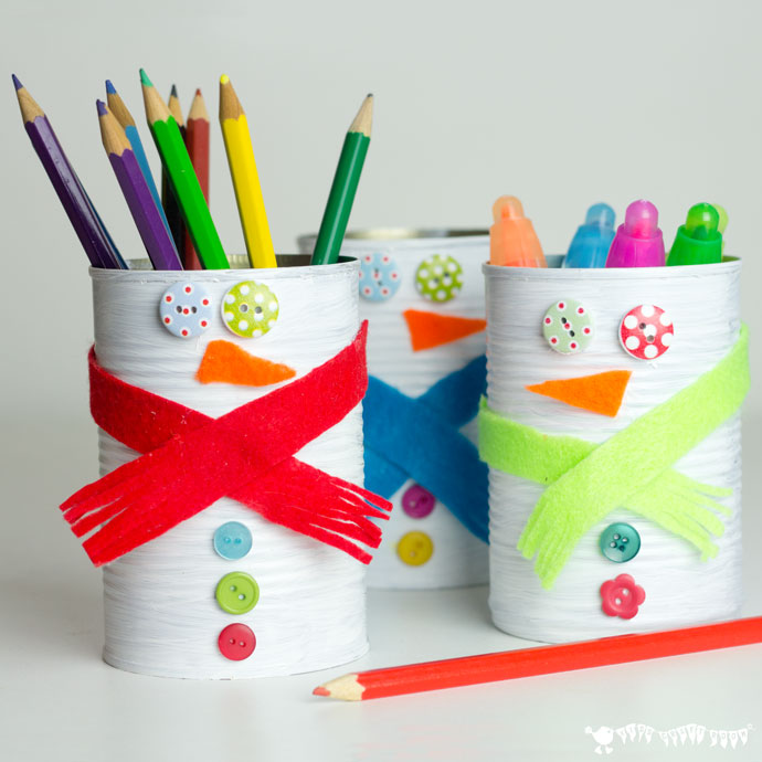 DIY tin can snowmen pencil holders (via www.shelterness.com)