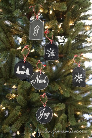 DIY quick and easy chalkboard Christmas ornaments and tags (via findinghomefarms.com)
