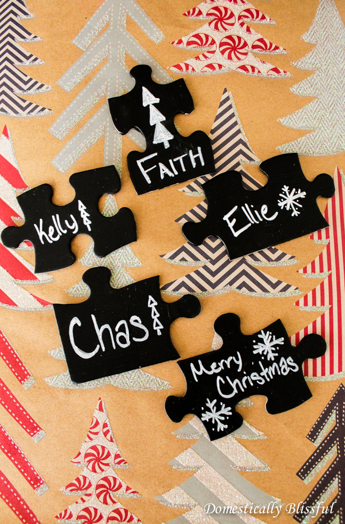 DIY chalkboard puzzle piece gift tags (via domesticallyblissful.com)