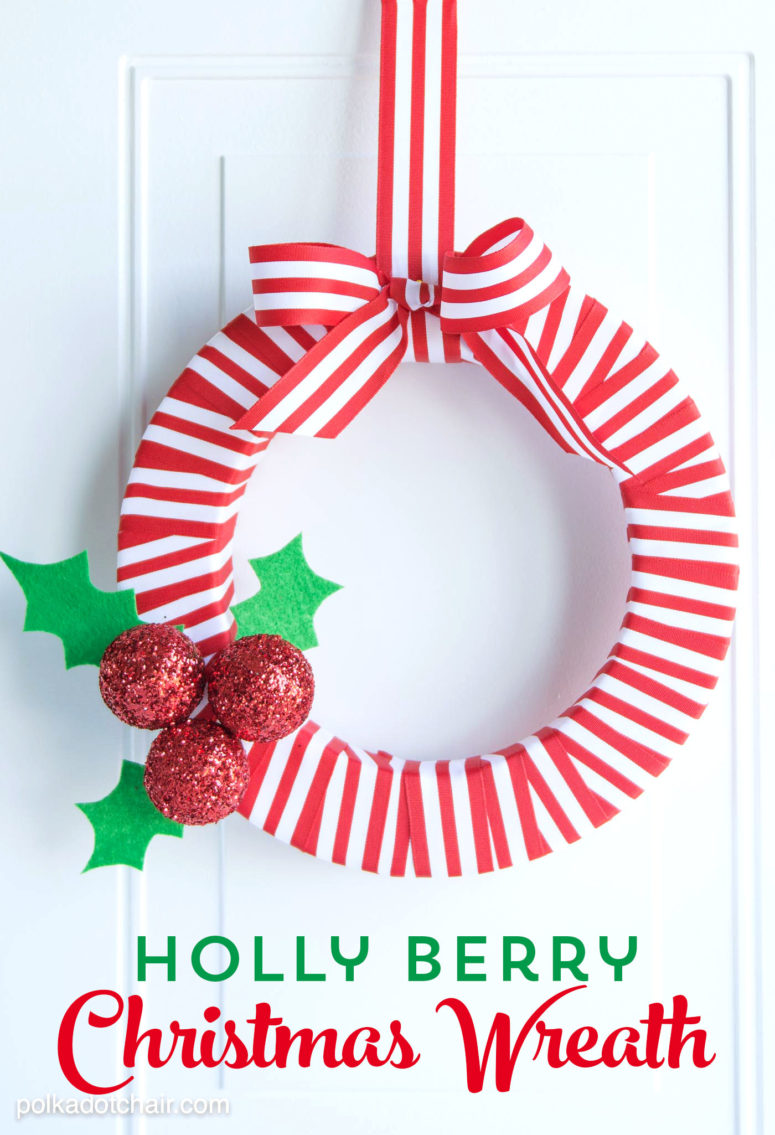 DIY red and white Christmas wreath with holly berries and leaves (via www.polkadotchair.com)