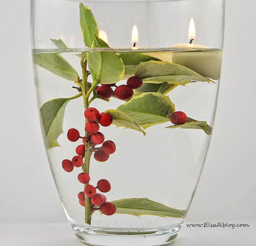 DIY holly sprig and berries centerpiece