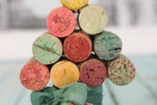 DIY colorful wine cork Christmas tree