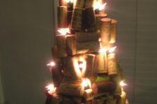 DIY lit up wine cork Christmas tree