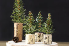 DIY simple wine cork Christmas trees with evergreen sprigs