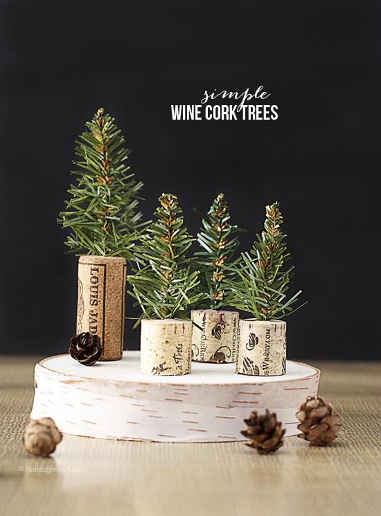 DIY simple wine cork Christmas trees with evergreen sprigs (via livelaughrowe.com)