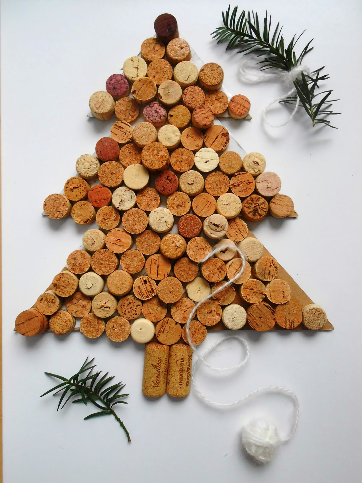 DIY cardboard Christmas tree covered with corks