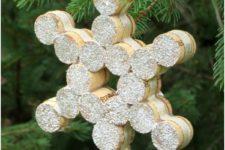 DIY cork snowflake ornament