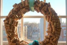 DIY wine cork wreath for Christmas