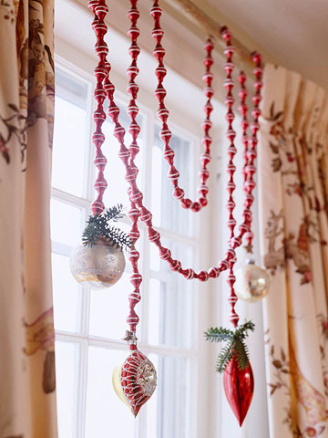 DIY window jewelry with ornaments (via www.bhg.com)