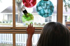 DIY glass stained window ornaments for kids to make