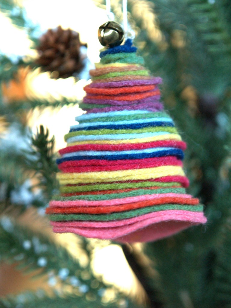 DIY colorful felt Christmas ornament with a jingle bell