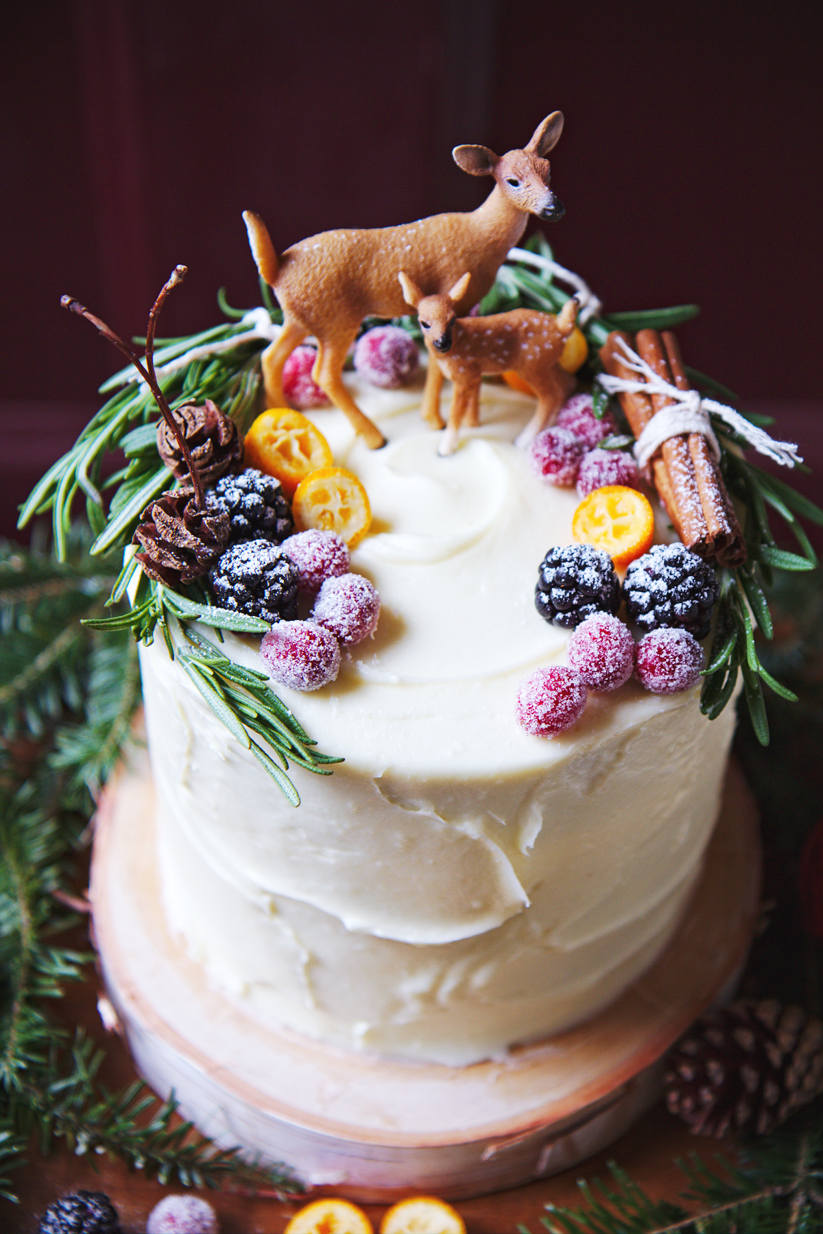 DIY red velvet Christmas cake with white chocolate cream cheese frosting