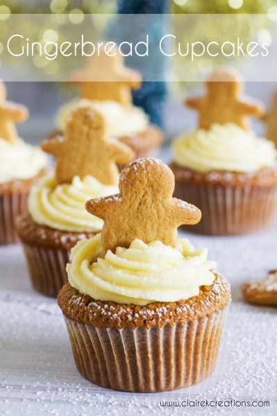 DIY gingerbread cupcakes topped with gingerbread cookies (via www.clairekcreations.com)