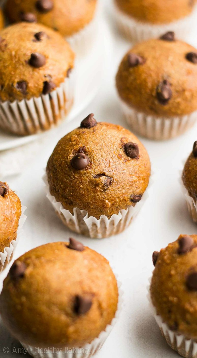DIY chocolate chip gingerbread mini muffins (via amyshealthybaking.com)