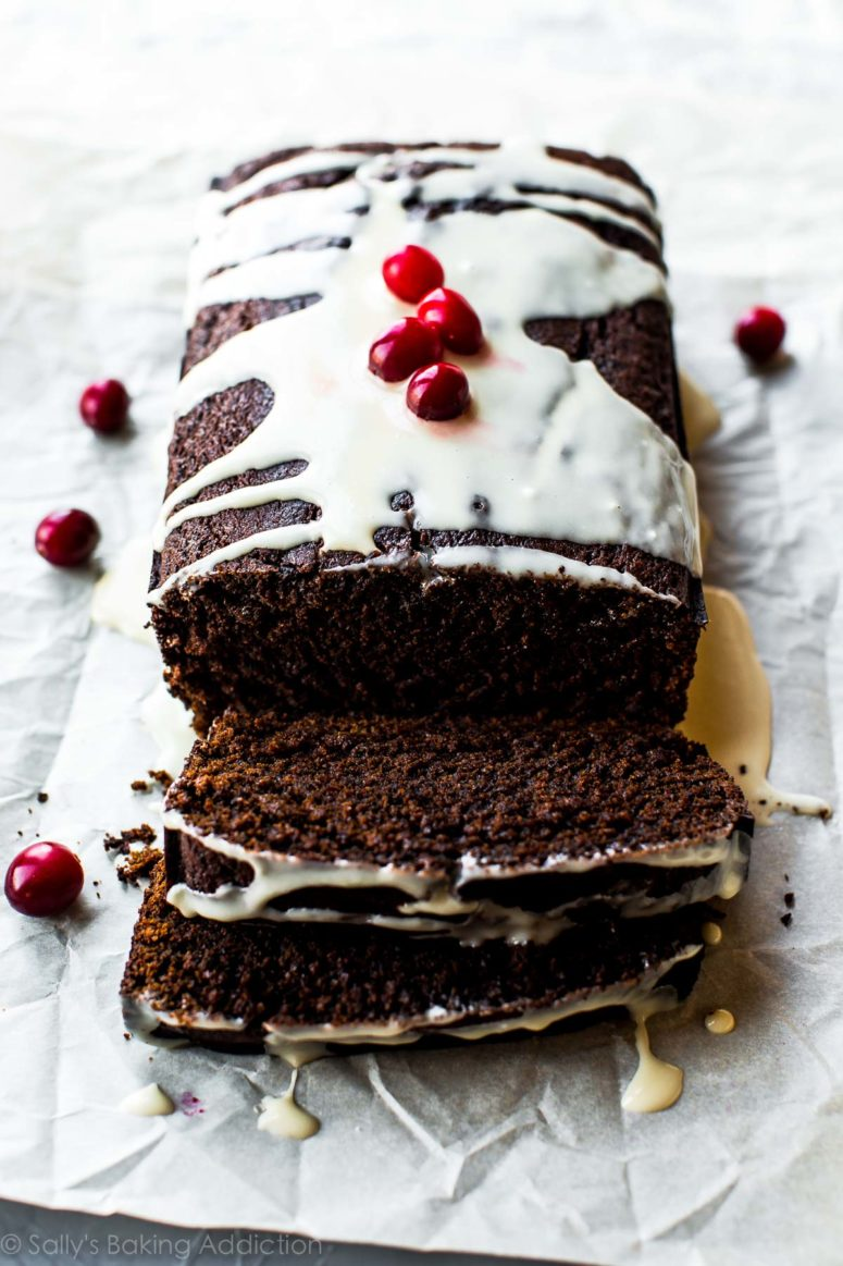 DIY spiced gingerbread loaf with cranberries (via sallysbakingaddiction.com)