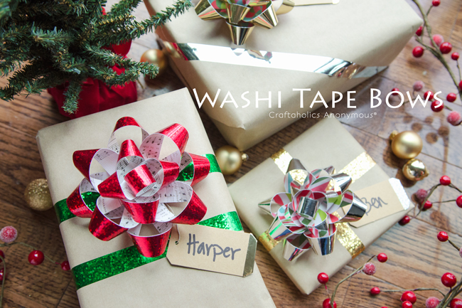 DIY metallic washi tape bows for Christmas gifts (via www.craftaholicsanonymous.net)