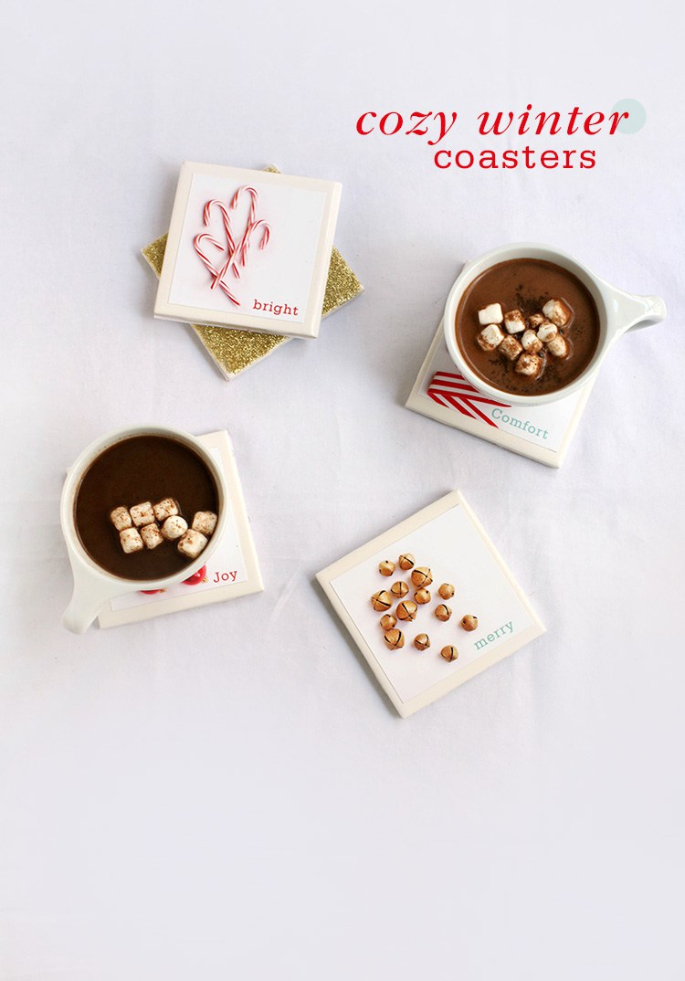 DIY tile winter coasters with printed out images (via www.freutcake.com)