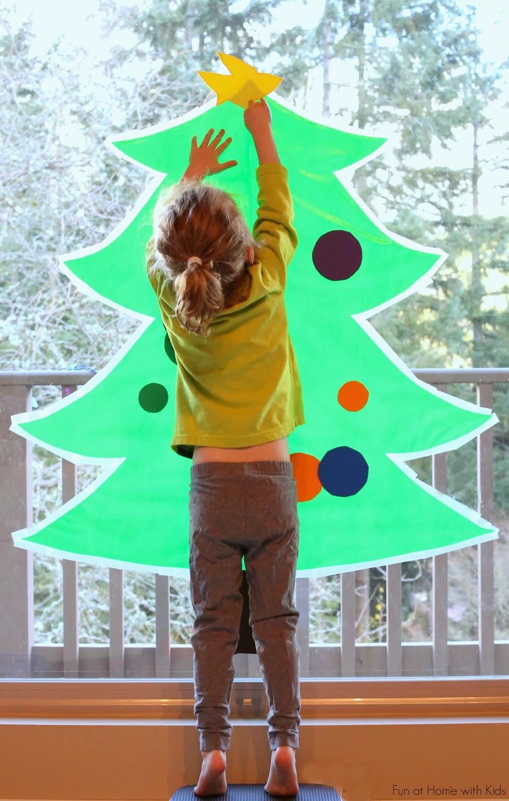 DIY sticky Christmas tree decorating activity