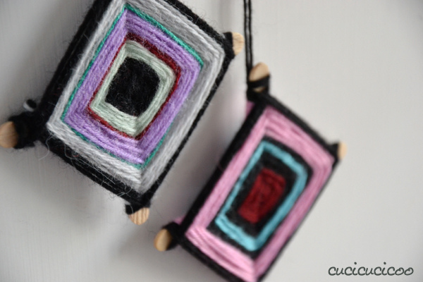 DIY woven yarn Christmas tree ornaments (via www.cucicucicoo.com)