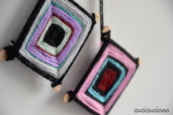 DIY woven yarn Christmas tree ornaments