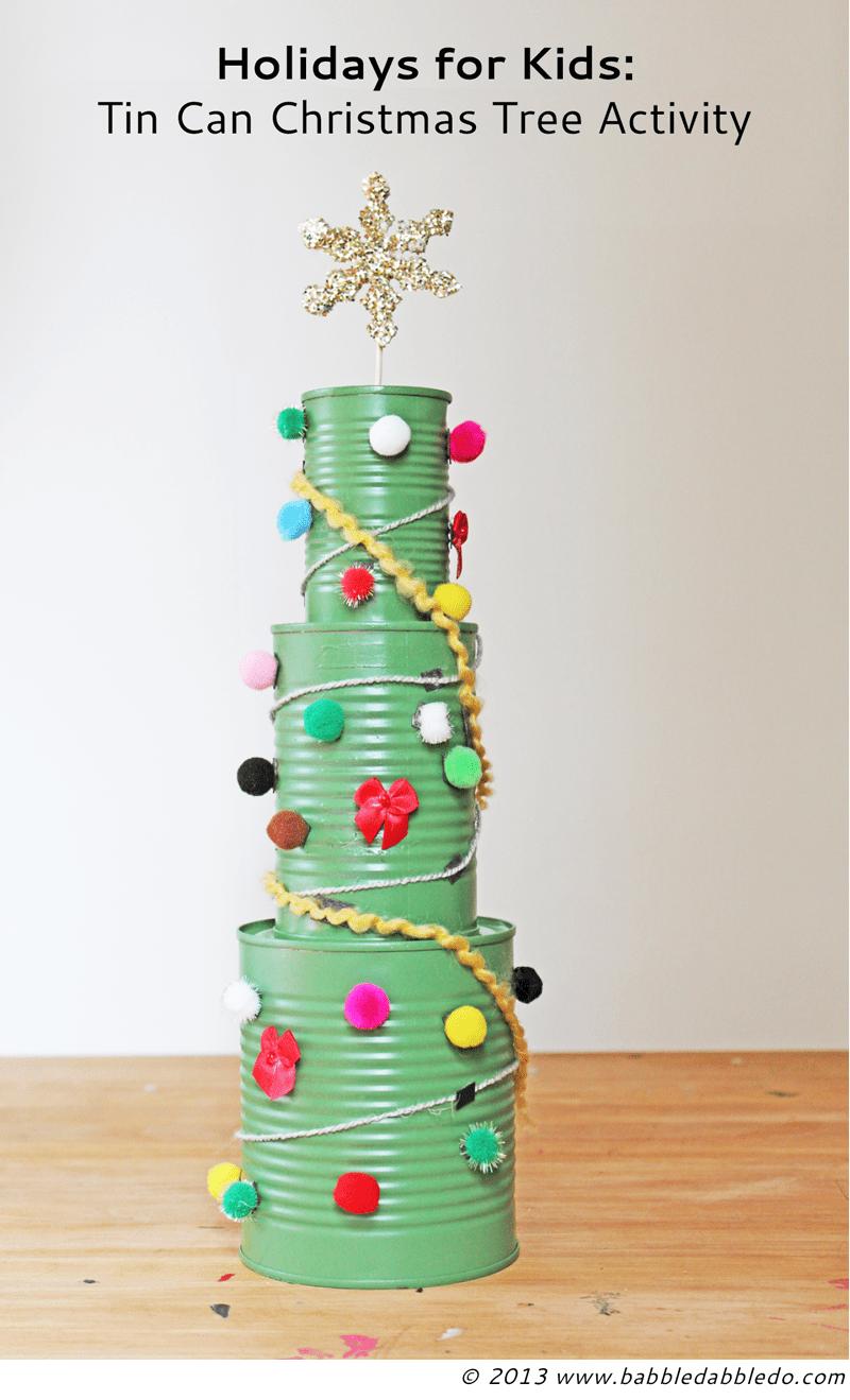 DIY tin can Christmas tree decorating activity
