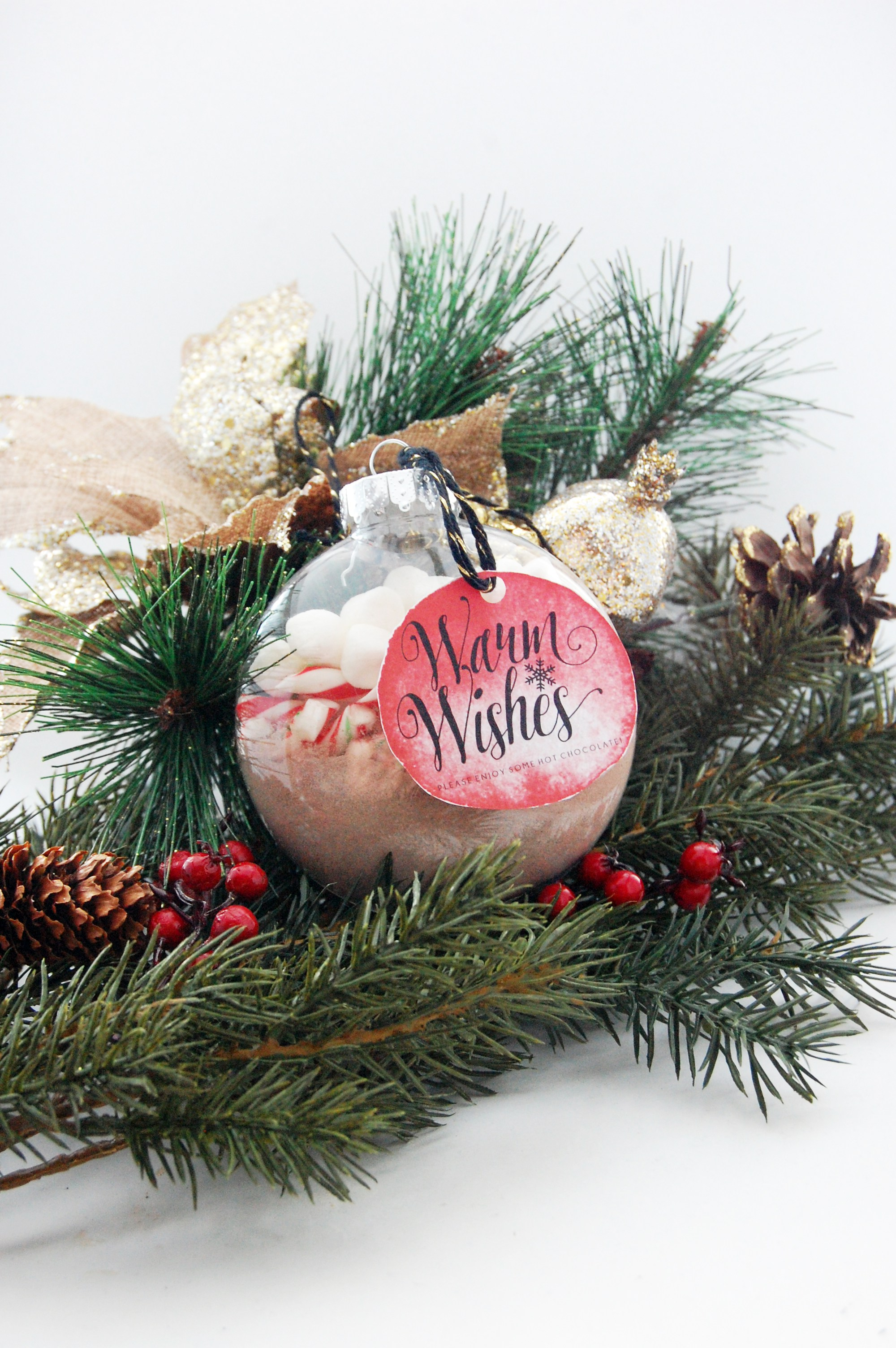 DIY heart warming Christmas favors inside ornaments