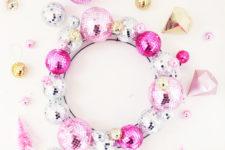 DIY shiny disco ball ornament wreath