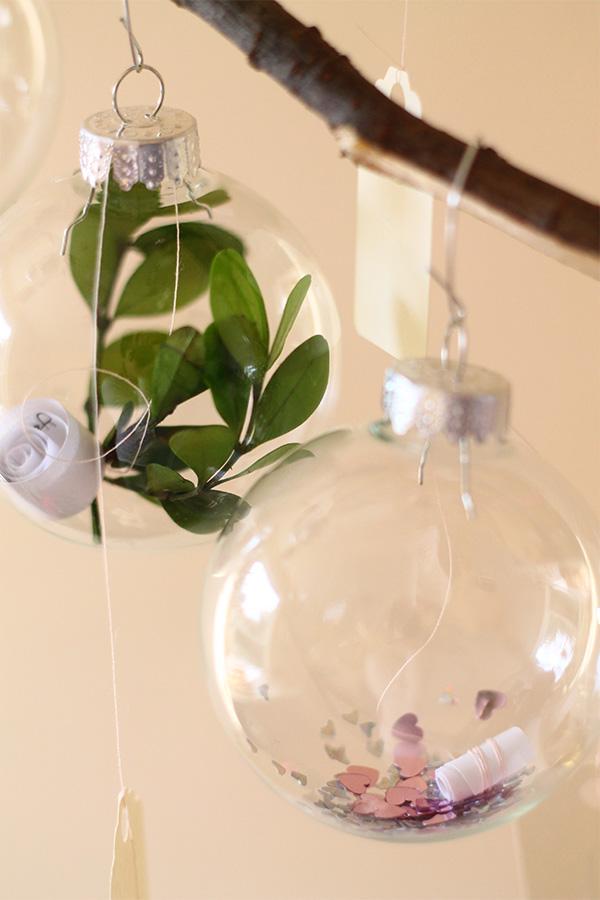 DIY Christmas ornament advent calendar on a branch