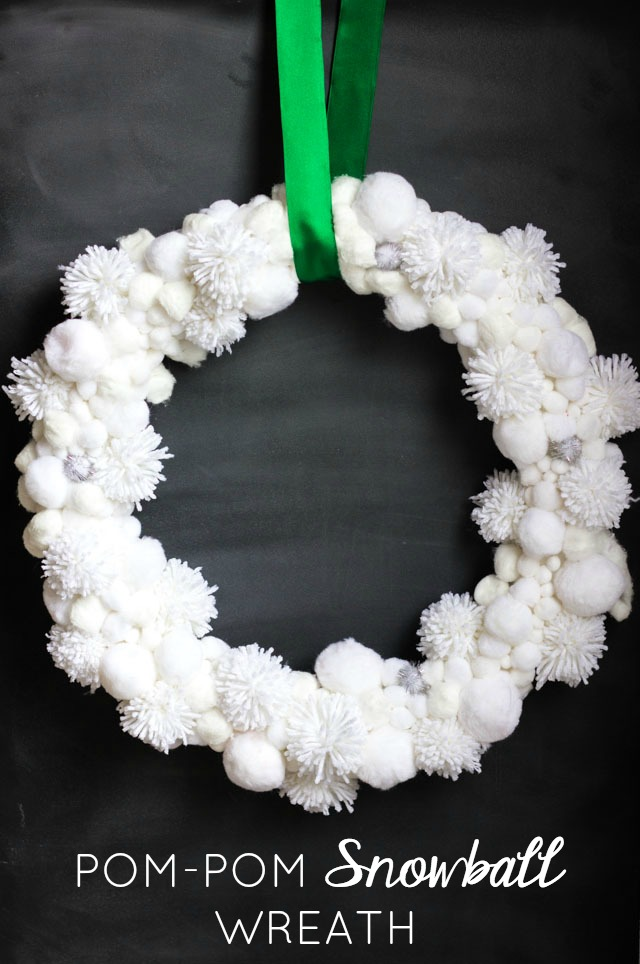 DIY pompom snowball wreath (via www.designimprovised.com)