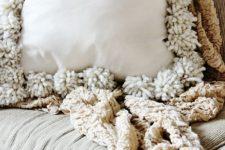 DIY drop cloth pompom pillow