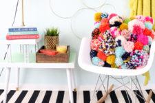 DIY colorful pompom pillow