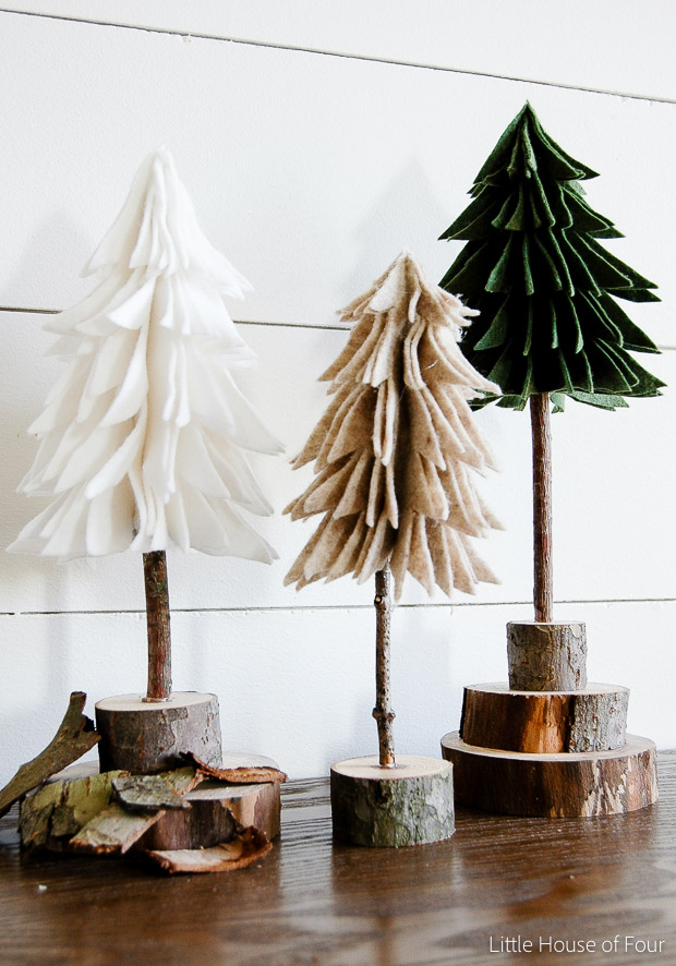DIY rustic felt Christmas trees (via www.littlehouseoffour.com)