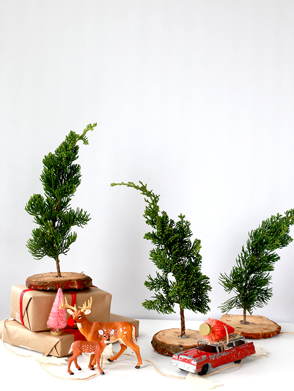 DIY fresh mini trees made of trimmings (via sayyes.com)