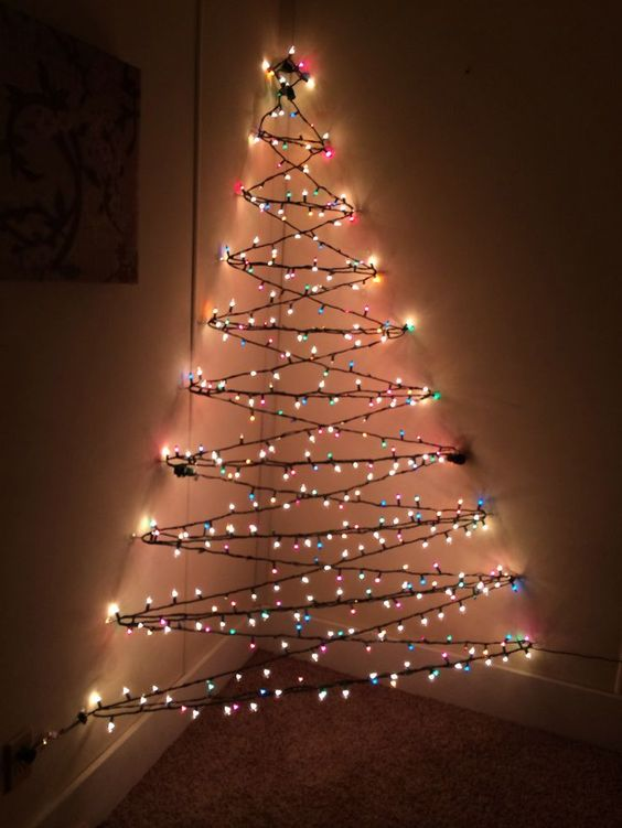 3D Christmas corner tree of lights