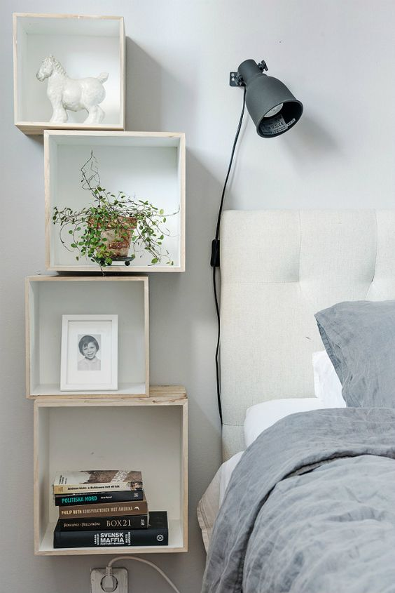 Box Shelves As Bedside Tables For Small Es
