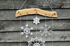 02 crochet snowflake and wood ornament for a cozy home