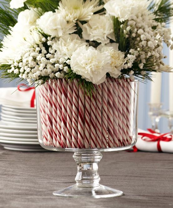 this candy cane flower centerpiece will be stunning on any table