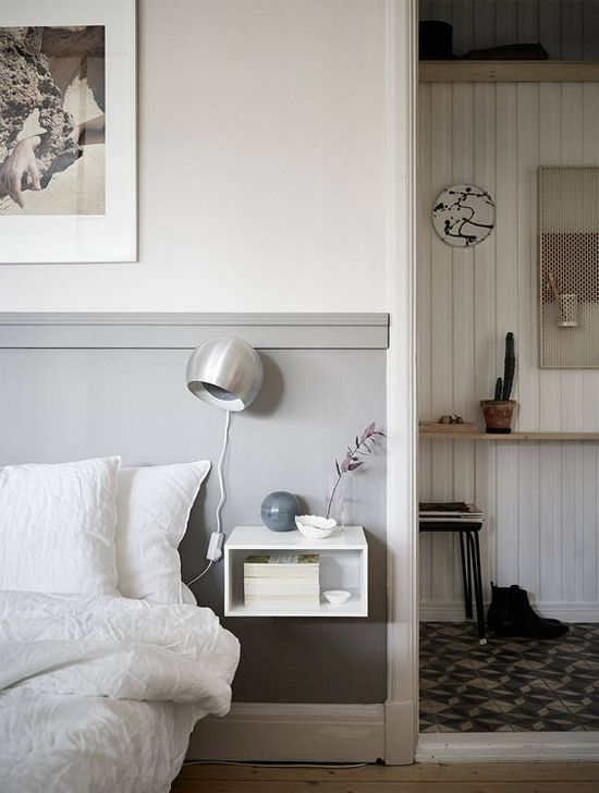 a floating nightstand is the perfect spacesaving solution for a small bedroom