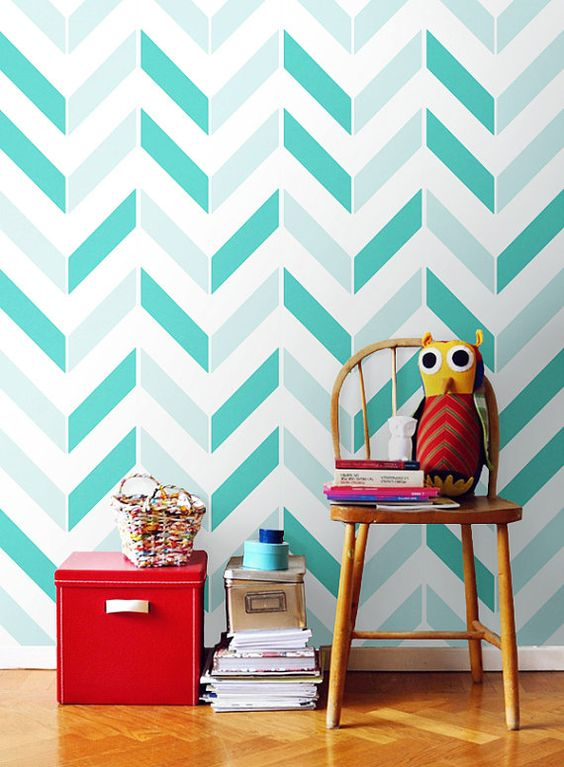 blue and turquoise chevron self-adhesive paper for a kid's room