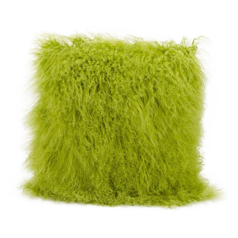 fluffy fur pillow in greenery color