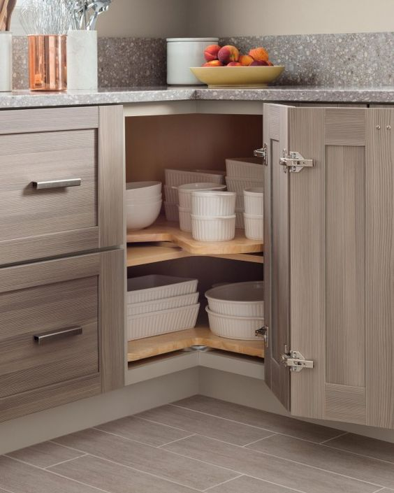 Superior Kitchen Corner Storage Ideas Part - 8: Baking Dishes Stacked In A Corner Storage Space