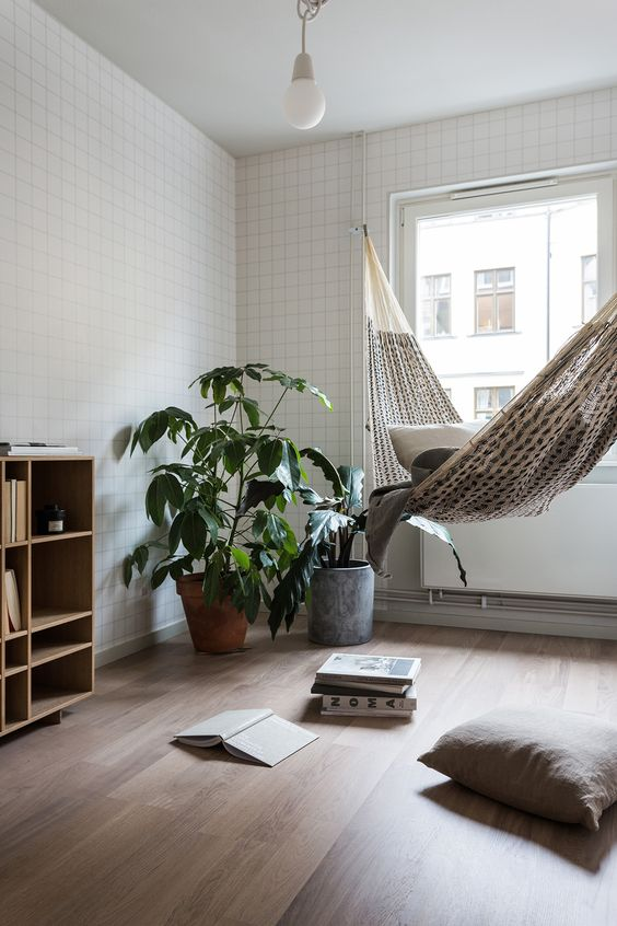 black and white hammock with a tribal vibe