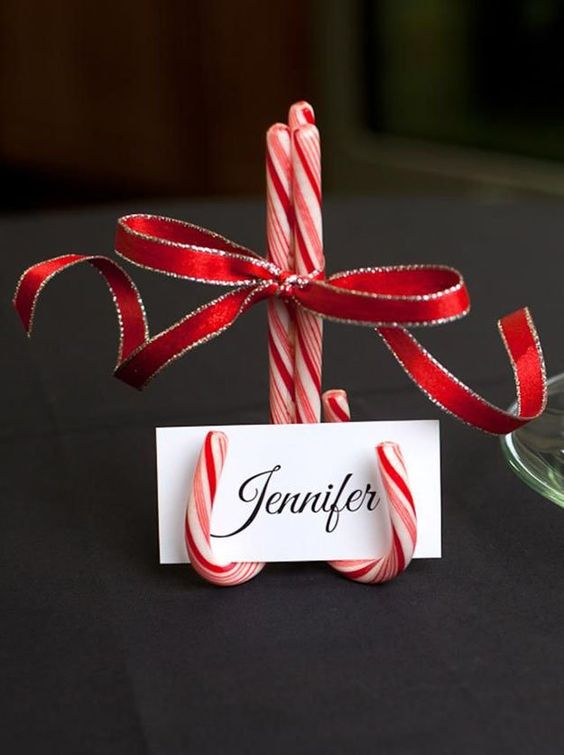candy cane escort card holder