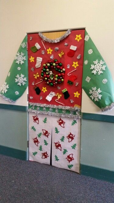 decorate your door as an ugly christmas outfit